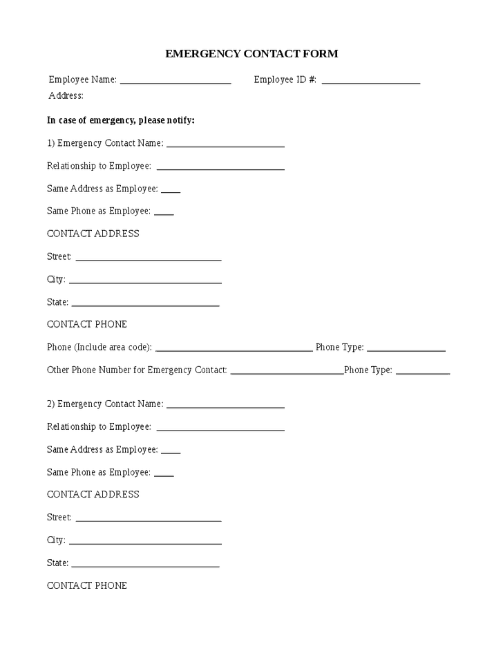 5+ Employee Emergency Contact Forms - Word Excel Templates