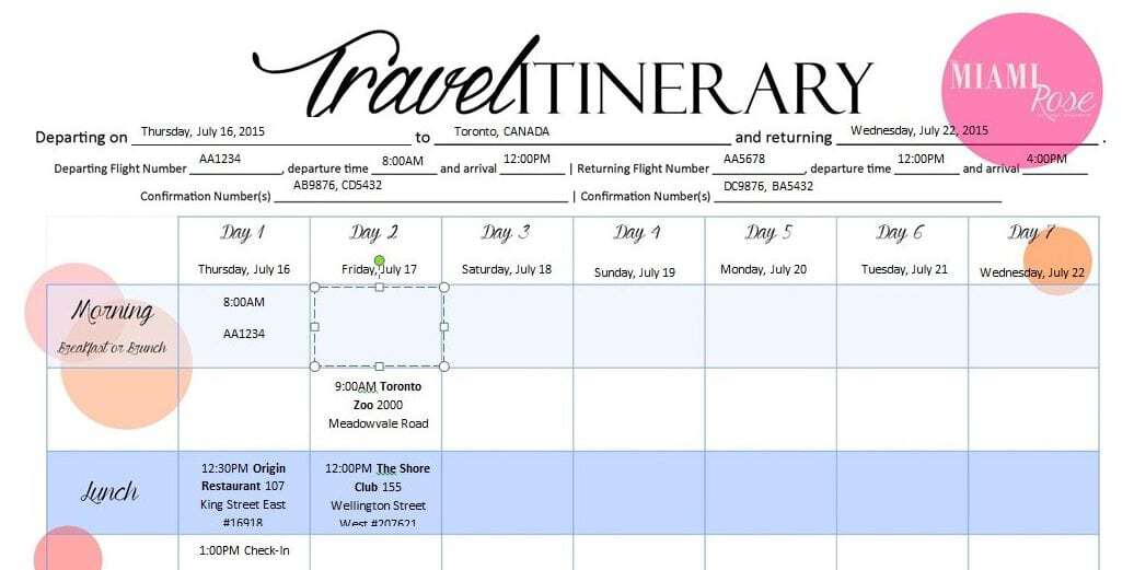 6 travel itinerary templates word excel templates for Blank trip itinerary template