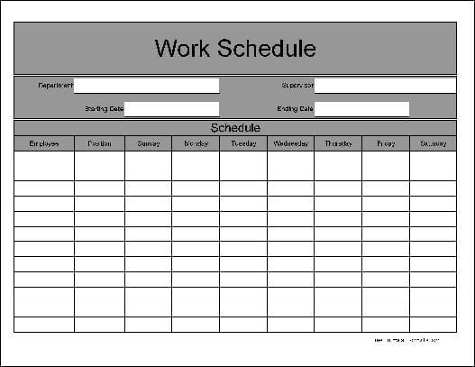 work week schedule template