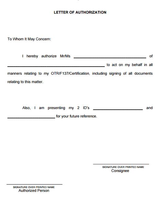 5 authorization letter samples to act on behalf word mandegarfo 5 authorization letter samples to act on behalf word altavistaventures Images