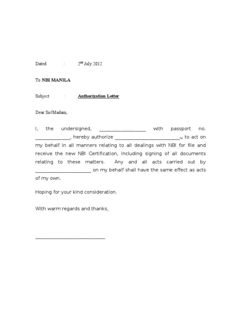 Authorization Letter Format Behalf Company power attorney form – Authorization Letter