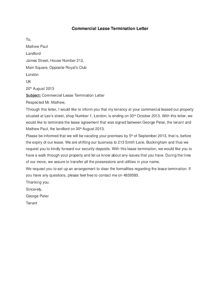 5 commercial lease termination letter templates word for Landlord termination of lease letter template