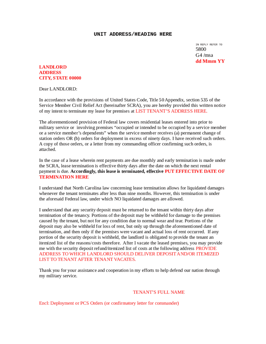 landlord notice - Notice Of Lease Termination