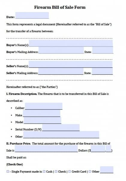 Bill Of Sale Firearm  Bill Of Sale Template Doc