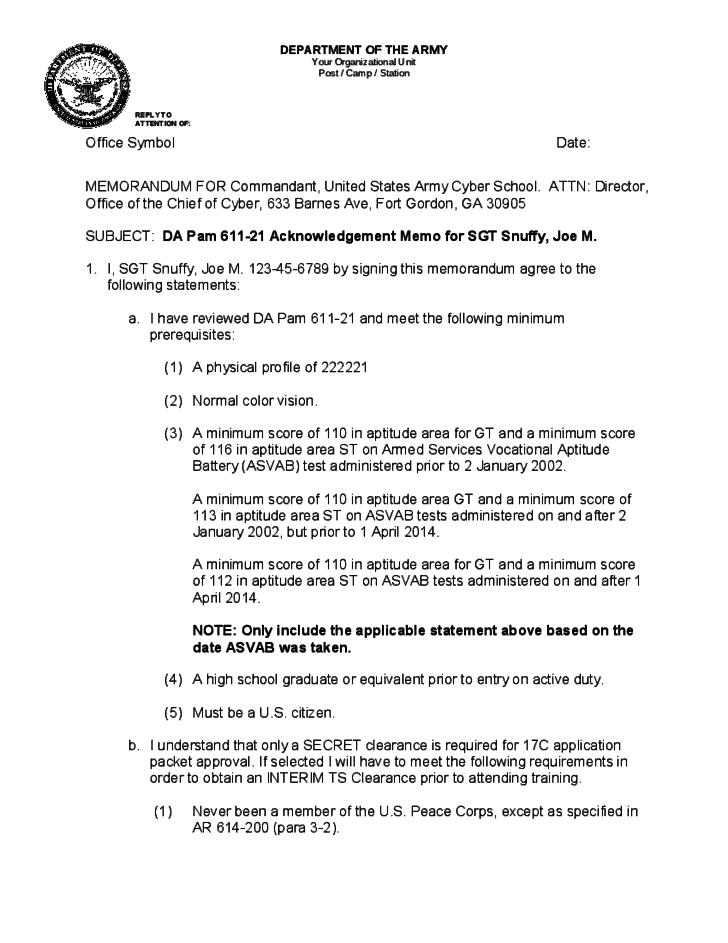 5 Army Memorandum Templates Word Excel Templates