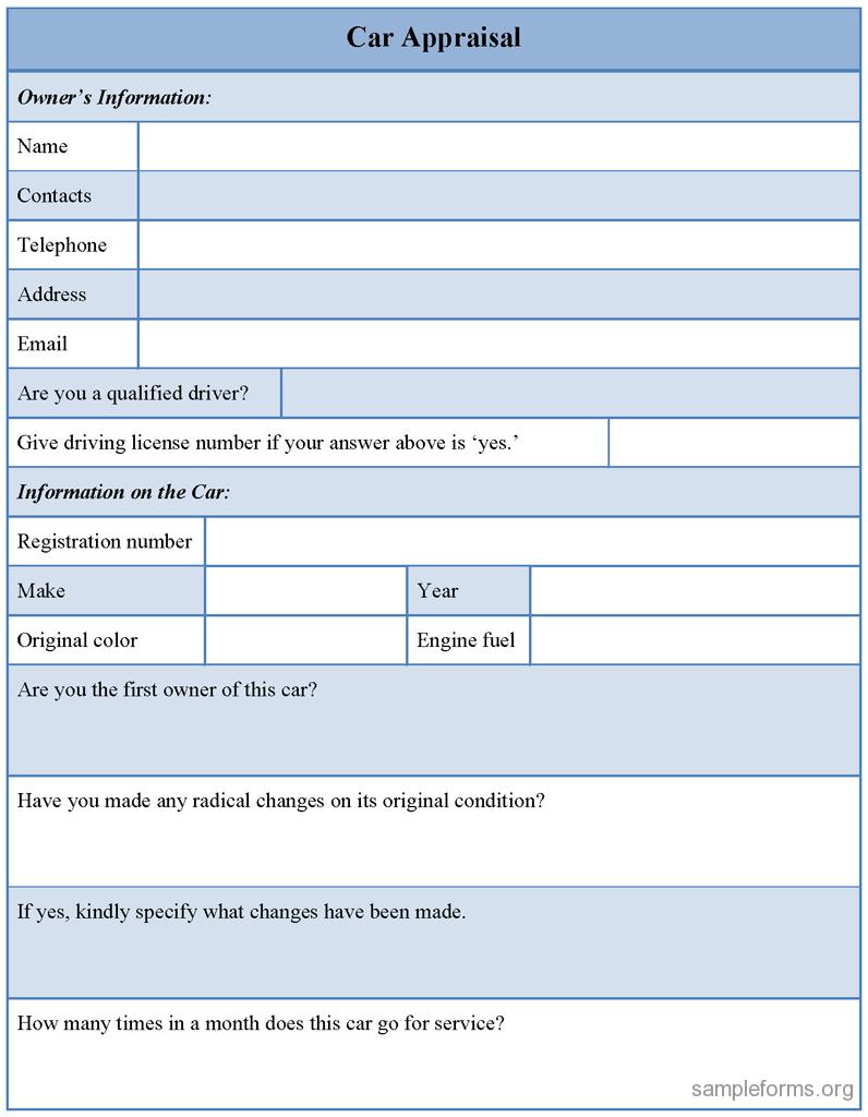 6  car appraisal forms pdf