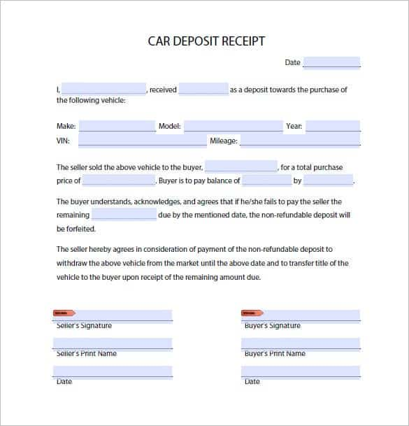 vehicle deposit form  15+ Car Deposit Forms - Word Excel Templates