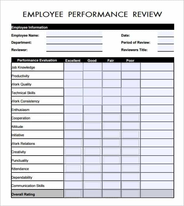 6 Employee Review Forms Word Excel Templates