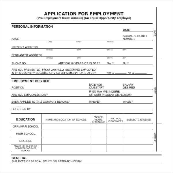 5 Job Application Forms Word Excel Templates