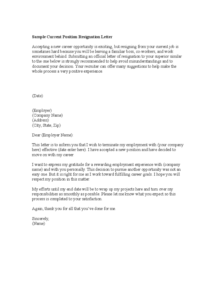 6+ Resignation Letter Formats - Word Excel Templates