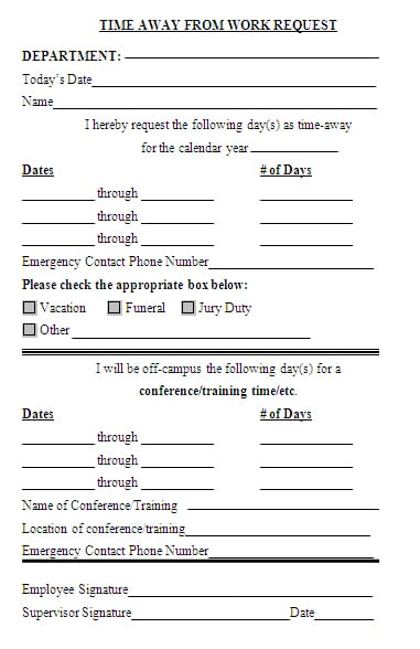 6  time off request forms
