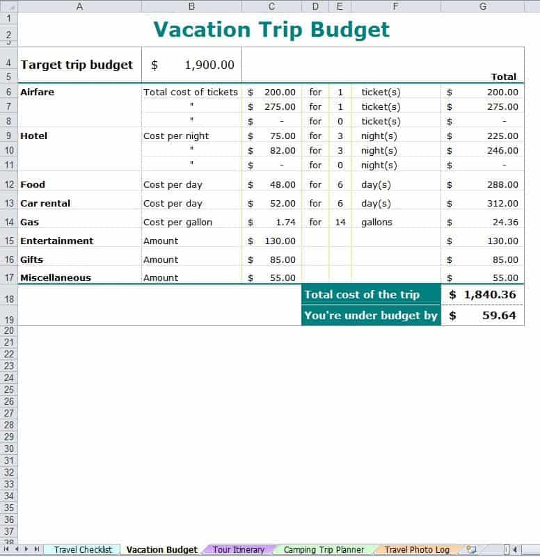 Holiday Budget Template Archives Word Excel Templates
