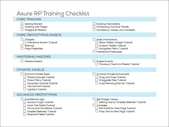 5 Training Checklist Templates Word Excel Templates