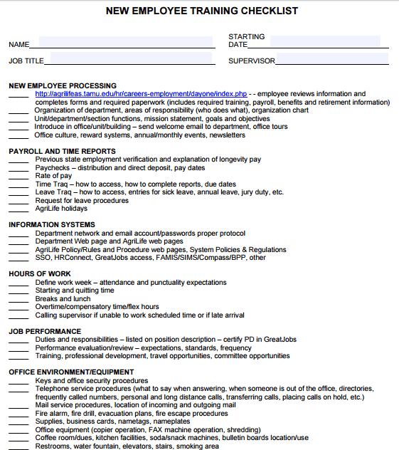 5+ Training Checklist Templates