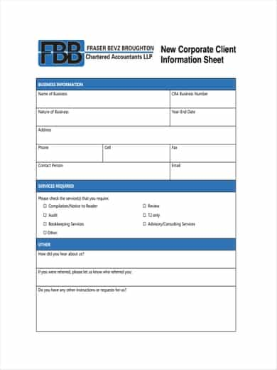 12 Customer Information Sheet Templates Word Excel Templates