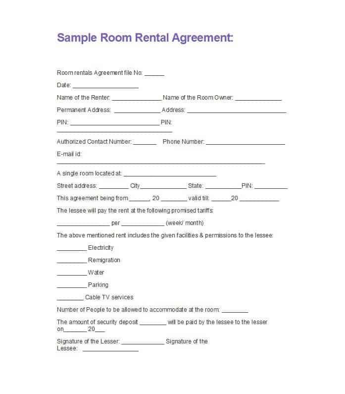 5  basic room rental agreement templates