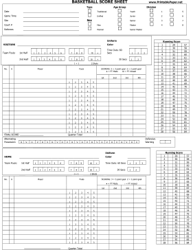 5+ Basketball Score Sheet Templates - Word Excel Templates
