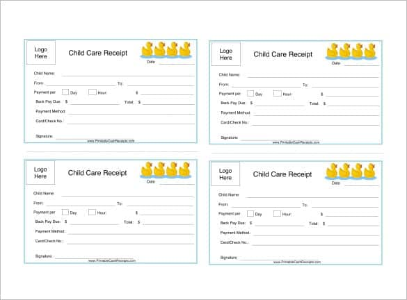 4 Dependent Care Receipt Templates Word Excel Templates