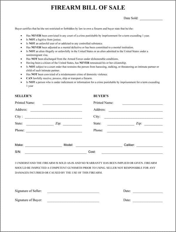 5  firearm bill of sale templates