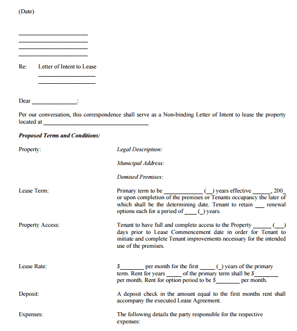 Letter Of Intent To Lease Commercial Property Pdf from www.wordexcelsample.com