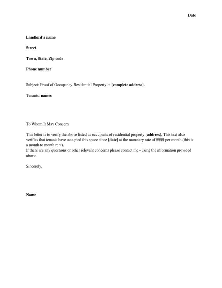 5 Letter Of Residency Templates Word Excel Templates
