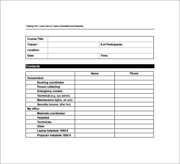 5+ Training Checklist Templates - Word Excel Templates