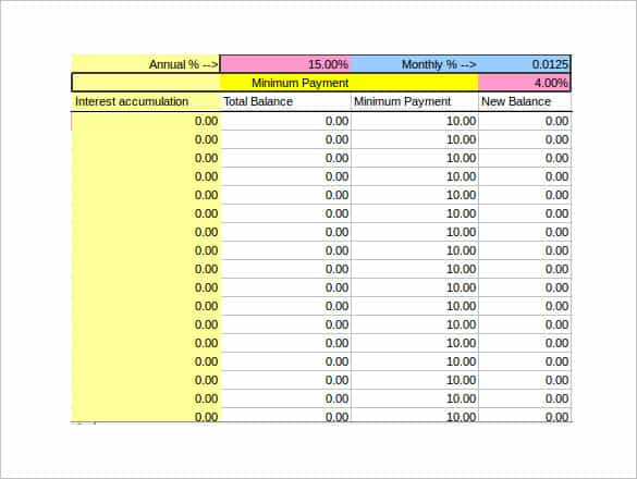 3 Free Credit Card Payoff Spreadsheet Templates Word Excel Templates